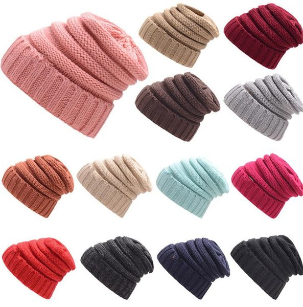 top popular Womens Girls Thick Cap Hat Skully Unisex Slouch Knitted Beanie Adult knitted hat wool hat fashion Outdoor Warm cap KKA2845 2019