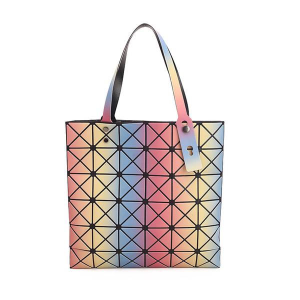 LHLYSGS brand rainbow diamondbags for women 2018 geometric rhombic Fashion single shoulder handbag ladies luxury bags designe