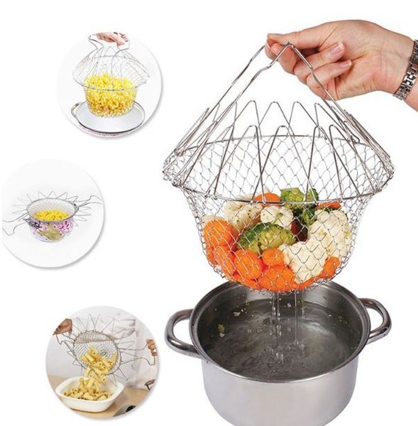 Multi-Function Foldable Steam Rinse Strainer Stainless Steel Colander Magic Mesh Basket Drainer Frying French Fryer Cooking Tool wn579 50pc