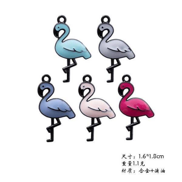 Mix 100pcs Enamel Flamingo charms and pendants jewelry accessories, DIY manual hair material mobile phone shell stick Swan alloy fittings