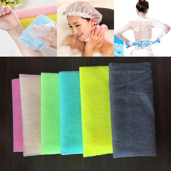 top popular 30*90cm Salux Nylon Japanese Exfoliating Beauty Skin Bath Shower Wash Cloth Towel Back Scrub Bath Brushes Multi Colors WX9-440 2019