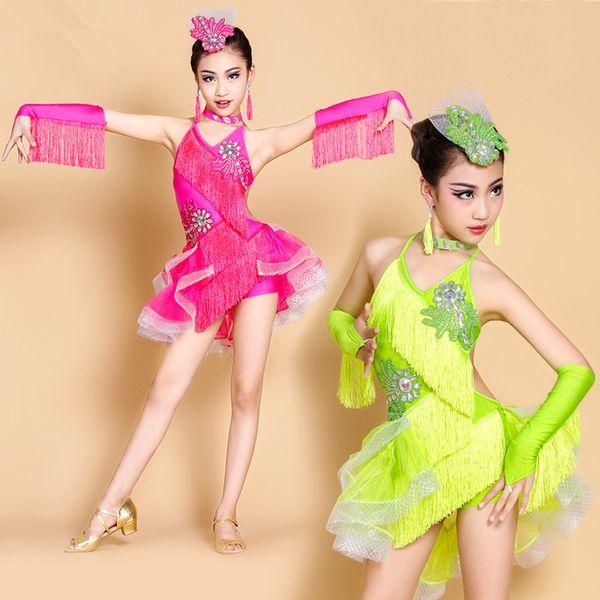 3b6533781bdcf Green Blue Children Kids Girls Latin Dance Dress Salsa Tango Cha cha  Ballroom Competition Dance Dress