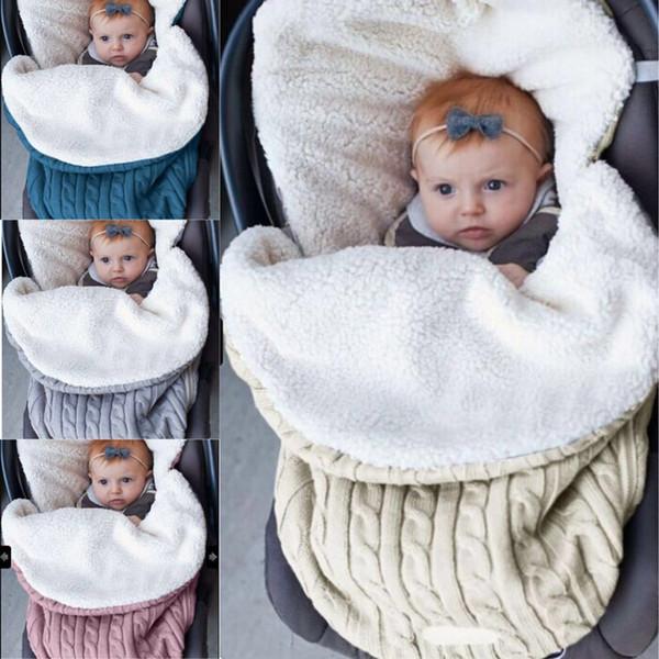 Saco de dormir de punto para bebé Saco de dormir de cochecito recién nacido Abrigo de invierno para niño de otoño Saco de dormir para niños de 6 colores LE46