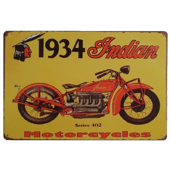 Indian Motorcycles Vintage Metal Signs Home Decor Cafe Bar ...