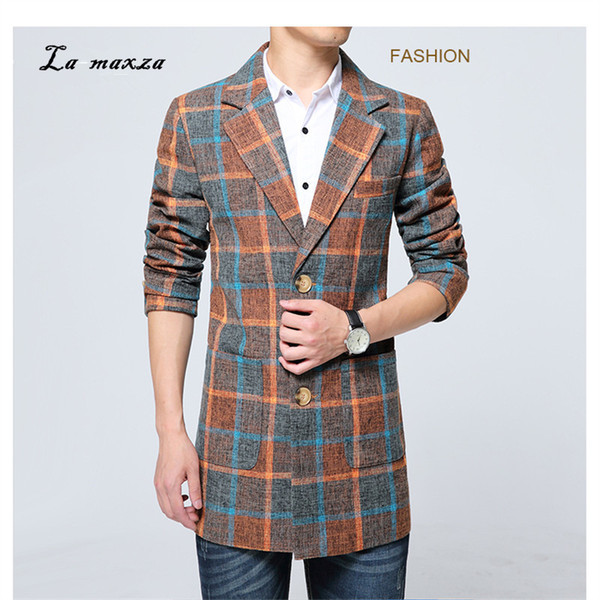 Plus Size 6XL 2018 Plaid Herren Smart Casual Mäntel Korean Style Mäntel Fashion Winter Dress Coat Mens