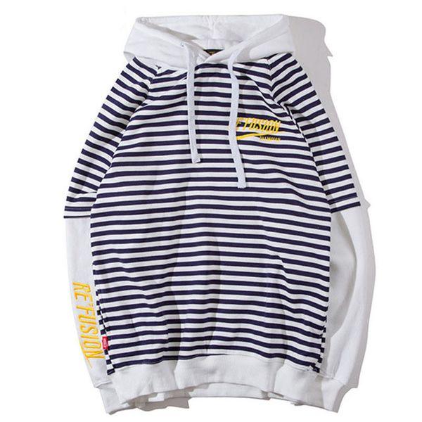 Camisola masculina Listrado Moletons Com Capuz O-pescoço Pullover Solto Streetwear Hip Hop Hip Hop Moda Inverno Casal