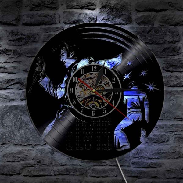 The King of Roll Elvis Presley Vinyl Clock Wall Clock Music Led Light Vintage Silhouette Home Decor Gift For Music Fan