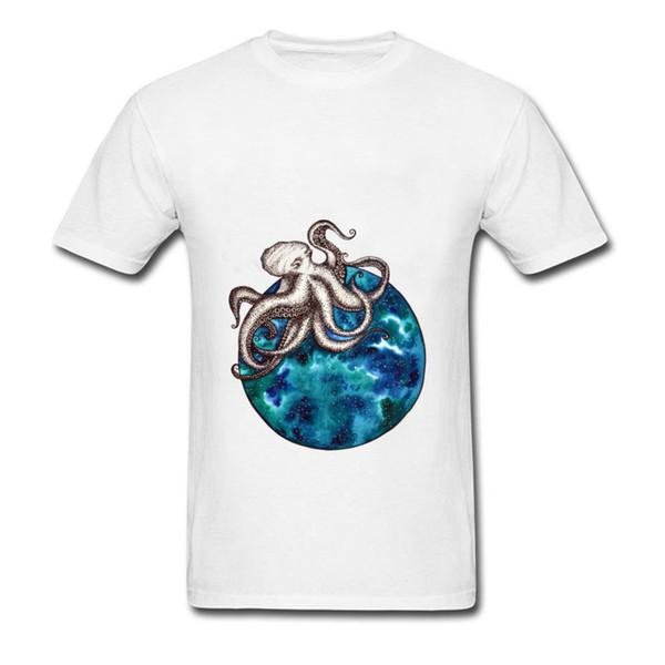 2018 High Quality Fashion New Tee Shirt Sea Octopus Printed On Casual Tops T-Shirt Custom Tops Tees Round Collar Cotton Sweatshirt