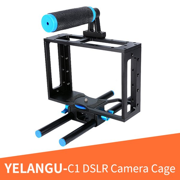 YELANGU C1 Aluminum Alloy 15 mm Rail Rod DSLR Camera Video Cage With Standard 1/4 Screw Holes With Top Handle Grip