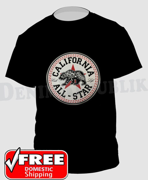 CALIFORNIA ALL STAR CALI LIFE STATE BEAR T-Shirt Black New Men's Tee
