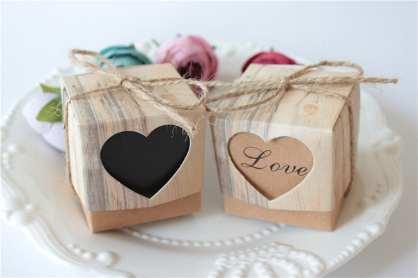 Wedding Candy Box Romantic Heart Kraft Gift Bag with Burlap Twine Chic Wedding Favors and Gifts Box Party Supplies