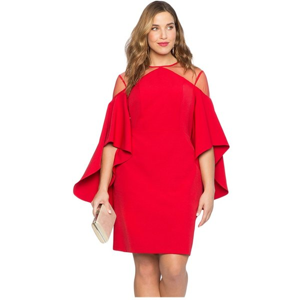 Designer Mother Of Bride Dresses Autumn Plus Size Hollow Out Black Red Mesh Illusion Cold Shoulder Large Party Dresses Women Clothes