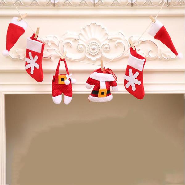 Fashion Christmas DIY Flags Decoration Mini Christmas Hat Sock Cloth Pant Props Home Christmas Fireplace Decorations