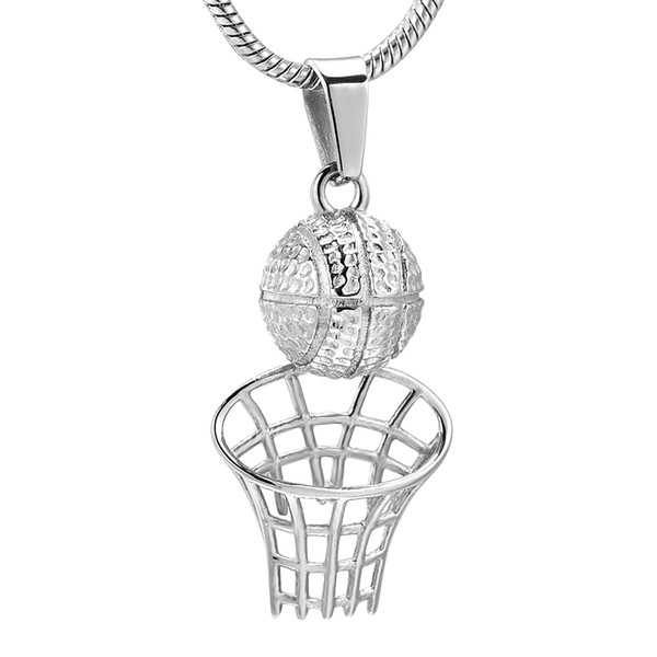 Player's Necklace Memorial 316L Stainless Steel Basketball Cremation Pendant with Snake Chain Funeral Urn Keepsake Jewelry for Human
