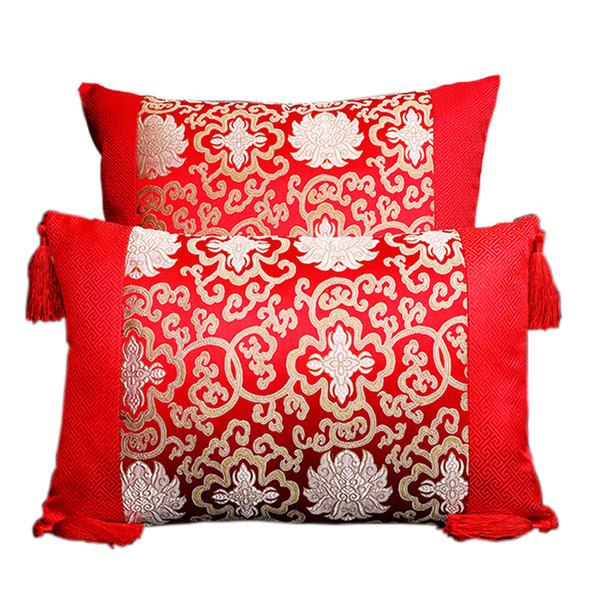 Classic Patchwork Sofa Chair Cushion Pillow Decorative Home Office Lumbar Pillow Chinese style Silk Satin Pillowcase
