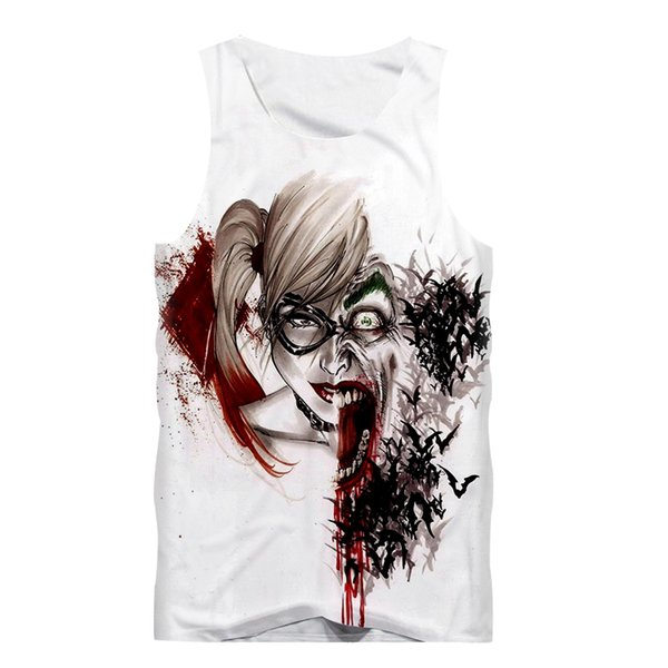 Wholesale- Sexy Summer Men Tank Top Sleeveless Shirt Boy Fitness Fashion T-Shirt Anime Suicide Squad Joker Harley Quinn 3D Print White Vest