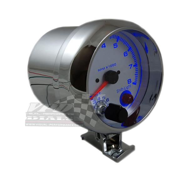 top popular 3.75'' 80mm 0~8000 Tachometer Gauge Blue Led Light Tachometer Rpm Gauge RPM Meter With RPM Shift Light Auto Gauge 2021