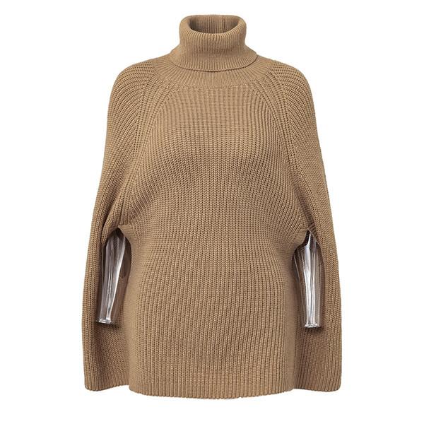 Women Casual Pullover Knitted Turtleneck Cloak Sweater 2018 Winter Streetwear Warm Sweaters Pullovers Womens Sweater Plus Size