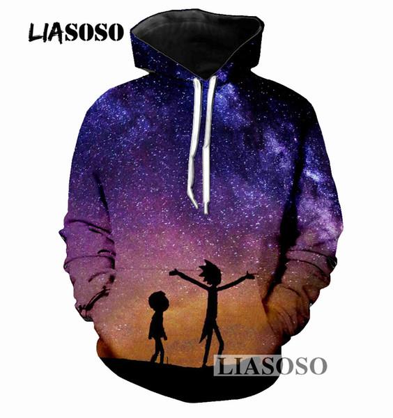 LIASOSO Sweatshirts Men Women Streetwear Hipster Pullovers Hoodies Scientist Rick 3d Print Hoody Clothing R3581