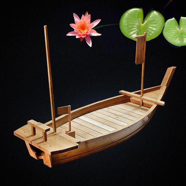 60cm con reti Bamboo Sushi Boat Bamboo Dragon Boat Sashimi ghiaccio assortiti frutti di mare