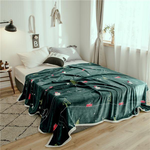 Neue Heimtextilien Weihnachtsbaum cartoon Printed Blanket Grau Grün Gestrickte Knie Decken Für Kinder Bett Reise Neujahr Geschenk