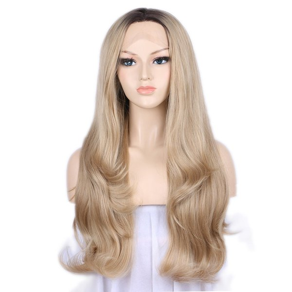 Hot Fashion 180% Density Blonde Lace Front Wig Synthetic Dark Roots Ombre Wig Long Wavy Wigs for Women Glueless Heat Resistant Fiber Cosplay