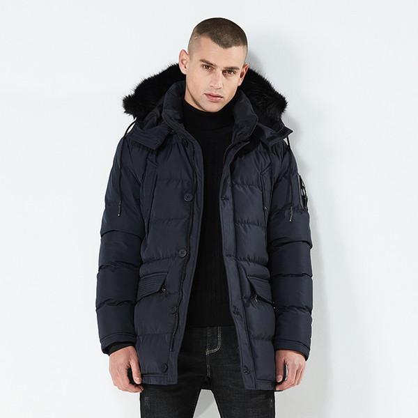 Cuello de piel sintética de alta calidad Parkas hombres abrigo de invierno chaqueta de moda con cazadora de color sólido con capucha para hombre J0200