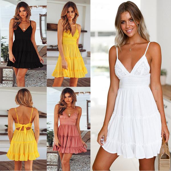 Femmes d'été Sexy Retour Bow Dress Cocktail Slim Badycon Short Beach Party Mini Robes Femme White Lace Dress FS5744