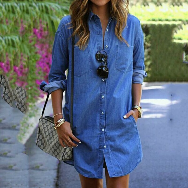 2018 Hot Arrival Women Summer Dresses Women Summer&Fall Long Sleeve Casual Shirt Denim Dress Mini Vintage Party Dresses