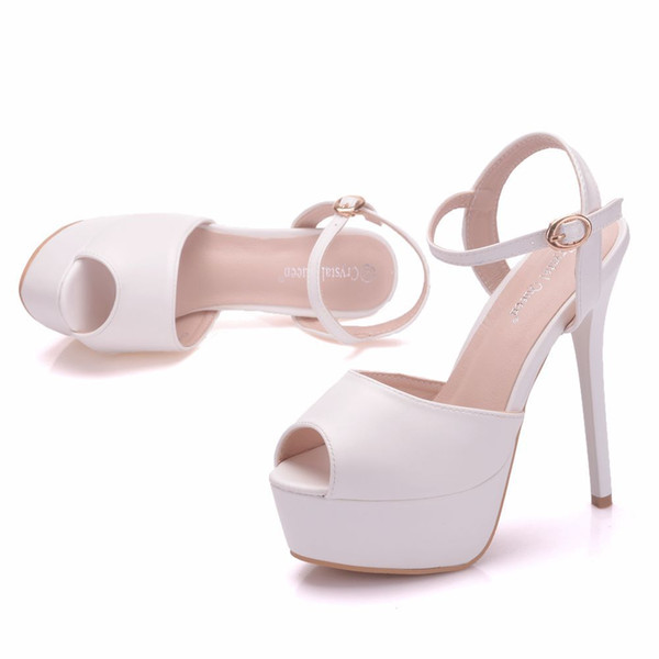 New summer white buckle peep toe shoes for women super high heels fashion stiletto heel wedding shoes Platform ankle strip Bridal sandals