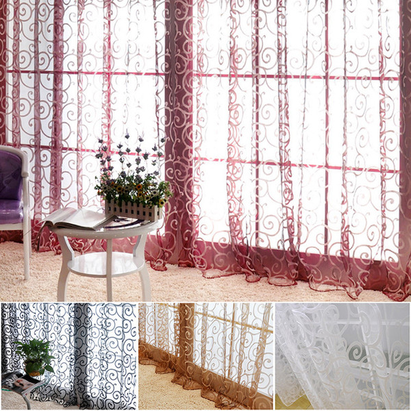 Home Textiles Floral Tulle Voile Door Scarf Valances Drape Sheer Window Curtains Home Party Window Curtain