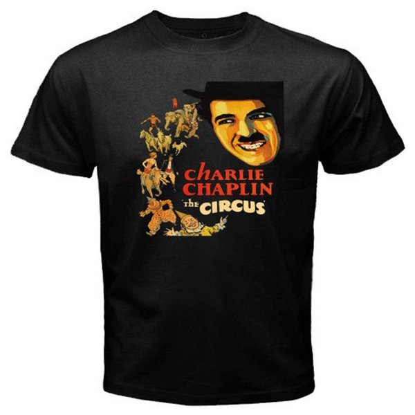 T-shirt nera da uomo Charlie Chaplin e The Circus Retro Movie Taglia S-3XL T-shirt personalizzata nera da uomo stampato High Top Tees