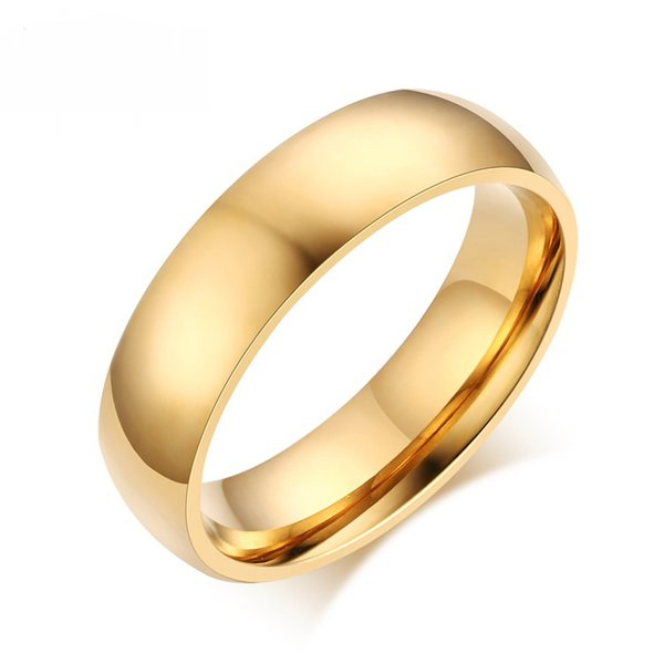 6MM Classic Wedding Rings for Men Women Anti Allergy Gold Blue Silver Color Stainless Steel Engagement Rings For Women US size 4-15
