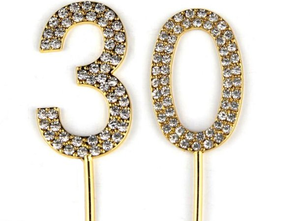 Number 30 Cake Topper 30th Baby Birthday/Wedding Anniversary Cupcake Topper Gold Alloy/Meta with Glitter Crystals Cake Decoration