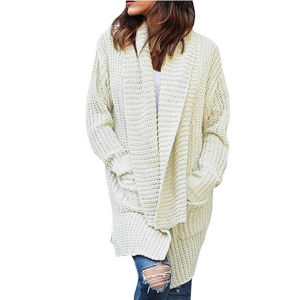 2018 Women Long Cardigans Autumn Winter Open Knitting Poncho Knitted Sweater Cardigans V neck Oversized Cardigan Jacket Coat