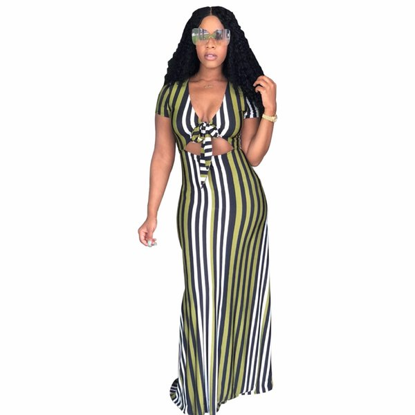 2018 Stripe Print Crop Short Sleeve Summer Dresses fashion Women Bandage bodycon Casual Sexy Long Maxi Dresses