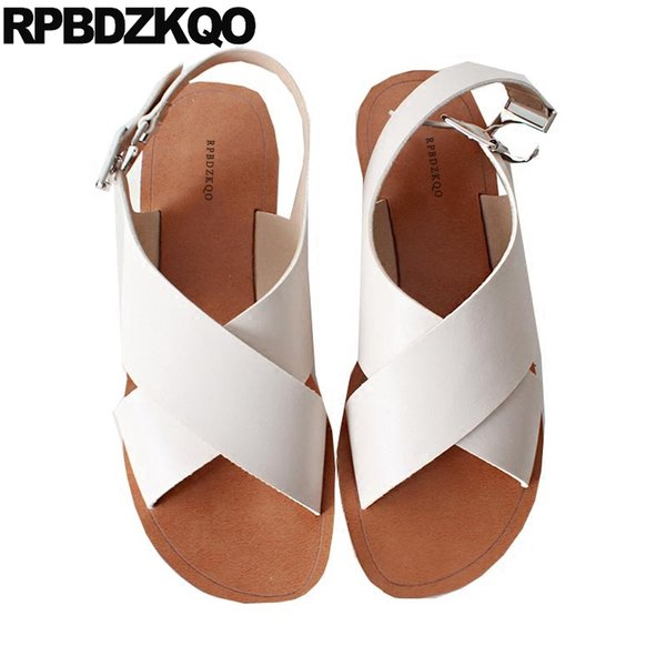 24d67f0db67 Women Sandals Flat Casual Open Toe 2018 Shoes Cheap White Comfortable Beach  Summer Wide Fit Strap