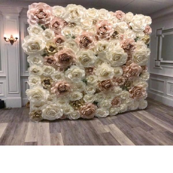 Dev Kağıt Gül Aritificial Çiçekler Düğün Olay Backdrop Süslemeleri Dekor Için 110 ADET Mix Fildişi Bebek Pembe Işık Altın
