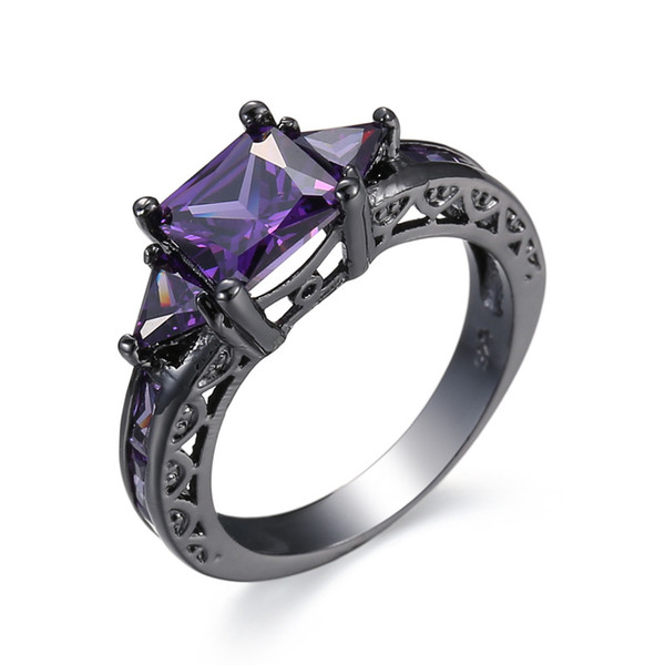Fashion Prong Setting Purple Amethyst Cubic Zirconia Black Gold Plated Rings Size 6/7/8/9/10 Women Men's Engagement Gift