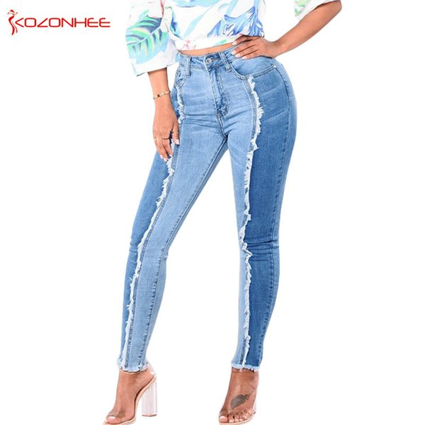 Women Stretch White tassels Jeans With High Waist Elasticity Plus Size Pencils Splice Denim Pants Casual Jeans For Girls S18101604