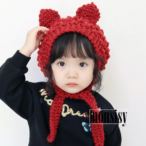 Monsisy Winter Baby Earmuffs Hat For Boys Girls Cap Kids Warm Wool Knitted Beanie 2-8 Years Children Cat Ear Crochet Touca Cap