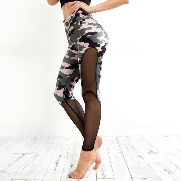 OVESPORT Camouflage Women Leggings Mesh Patchwork Fitness High Waisted Leggings For Women Workout Sporting Sexy Leggins Push Up