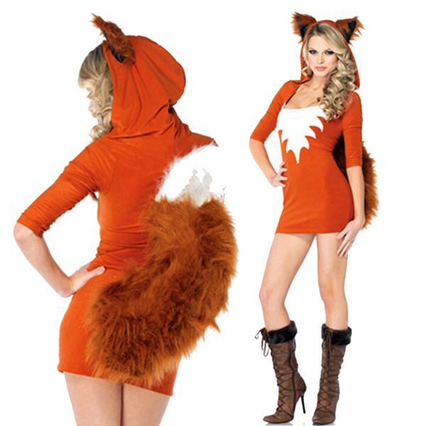 Tema do Inverno do natal Traje de Pele De Falso Animal Uniforme Halloween Esquilo De Pelúcia Roupas Laranja Sexy Carnaval Cosplay Traje de Raposa