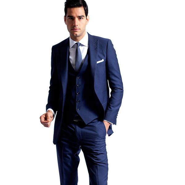 Men Suits 2018 Royle Blue Peaked Lapel Wedding Suits Evening Dress Bridegroom Custom Made Slim Fit Formal Tuxedo Best Man Blazer Prom 3Piece