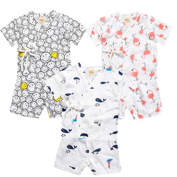 Children cotton gauze pajamas 2pc set Lace-up blouse+short pants emoji flamingo whale pattern cute kids homewear suit 1-6T