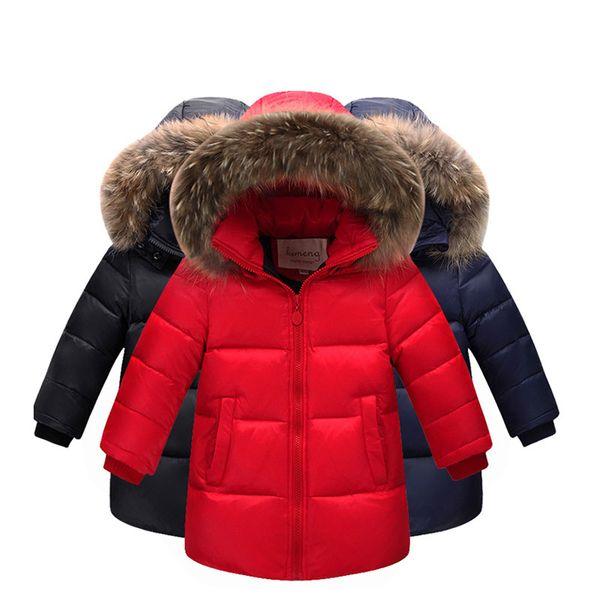 Großhandel Kinder Entendaunen Winter Warme Jacke Mit Fell Jungen Mädchen Solide Mantel Mit Kapuze Winterjacke Kind Kleidung Mantel Von Indusrain,