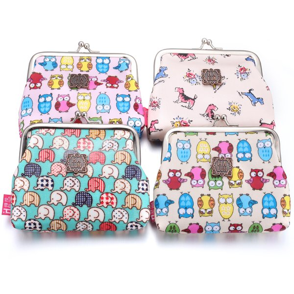 Interchangeable Jewelry Cartoon Owl 18mm Snap Button Bag Coin Purse Wallet Pockets Wholesale Money Clips Button Jewelry