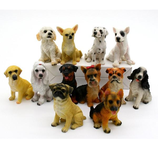 12 unids Miniatura Jardín de Hadas Adorno Decoración Micro Paisaje Perro Figuras Dollhouse Resina Decoración Para Mini Jardín Decoración