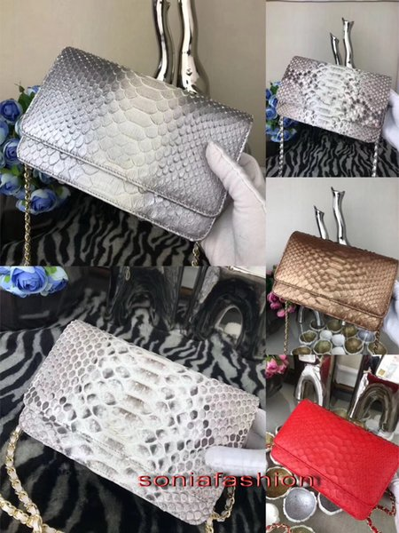 Hot sale classic fashion woman bag designer wallet on the chain genuine snake skin leather lady cross body bag