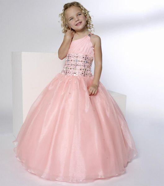 Long One Shoulder Pink Custom Made Cute Little Flower Girl Dress Floor Length Hand Made Flowers Kids Prom Birthday Dress